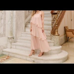 Blush large ruffled dress- brand new!